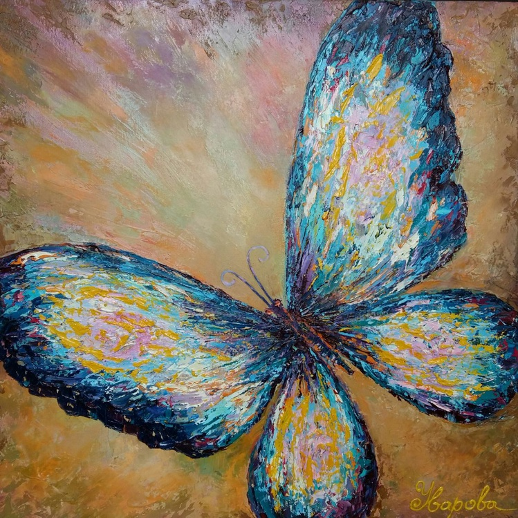 Butterfly, 60x60 cm, original artwork, FREE SHIPPING - Image 0