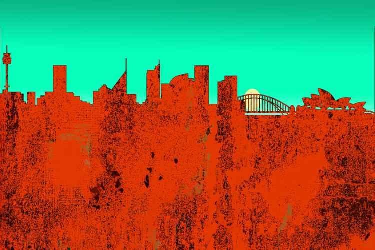 Sydney Australia Skyline -Red