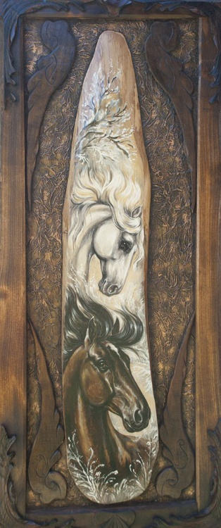 Horses (47x116cm) unique LARGE SIZE philosophical HAND MADE oil painting READY TO HANG gift idea GIFT FOR HIM original NATURAL male HOME DECOR art for office - Image 0