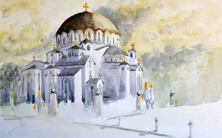 St. Sava Church, vignette - original watercolor painting by Nenad Kojić -