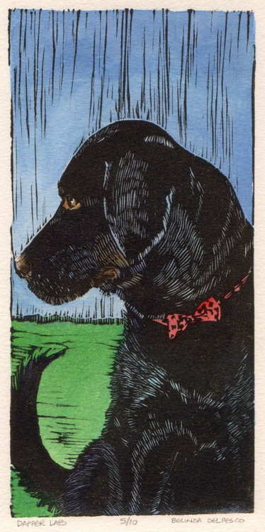Dapper Lab - Framed Linocut of a Dog in a Bow Tie - Image 0
