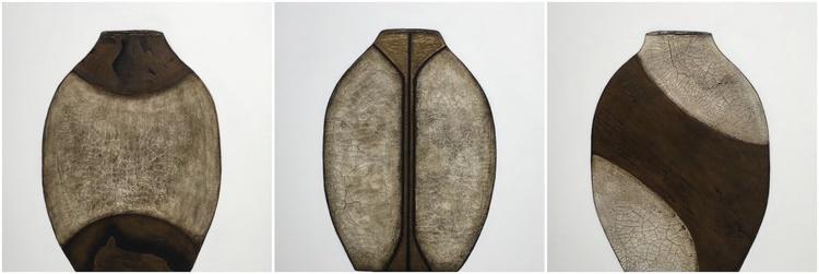 Raku Pottery Series II Triptych - SOLD - Image 0