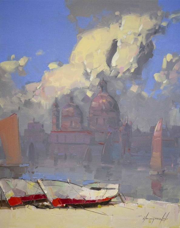 Venice in Clouds Original oil painting Handmade One of a kind - Image 0