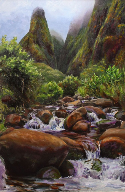Mists of Iao Valley - Maui, Hawaii Landscape Painting - Image 0