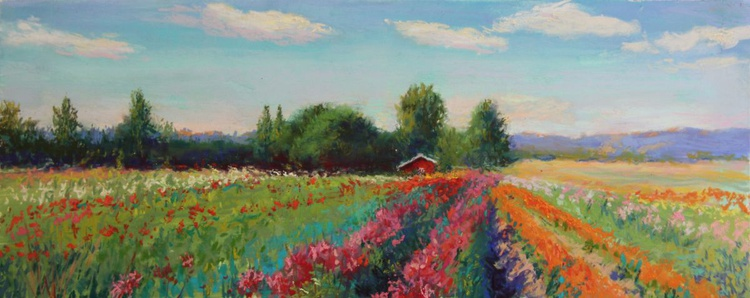 Red Barn and Dahlias - Image 0