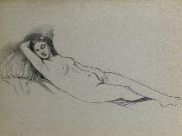 Reclining Nude, inspired by Titian's Venus of Urbino, 41x31 cm - Image 0