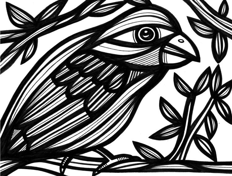 Precipitate Bird Nature Original Drawing - Image 0