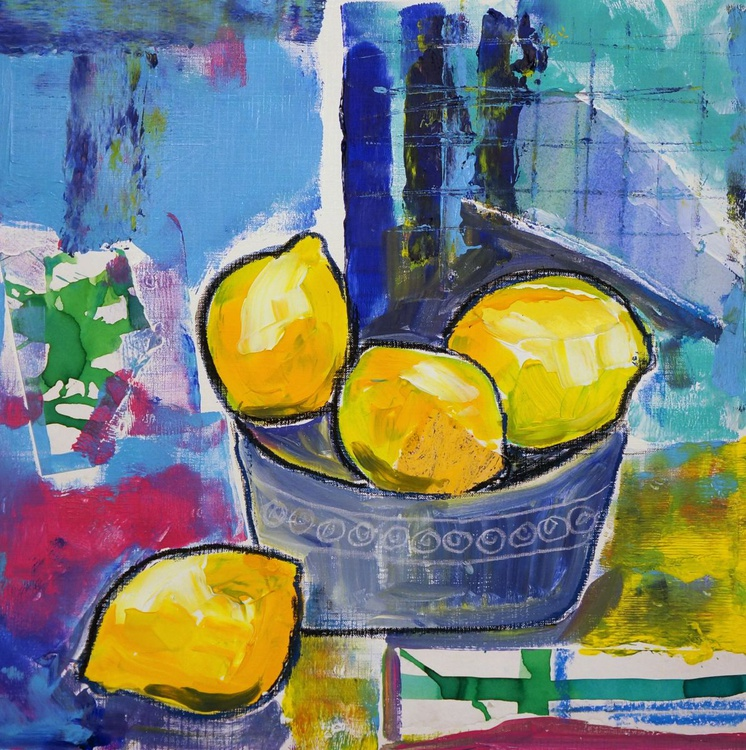 Lemons in a Blue Bowl - Image 0