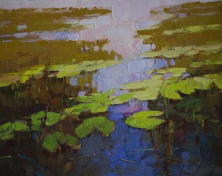 Waterlilies Pond Handmade large oil Painting - Image 0