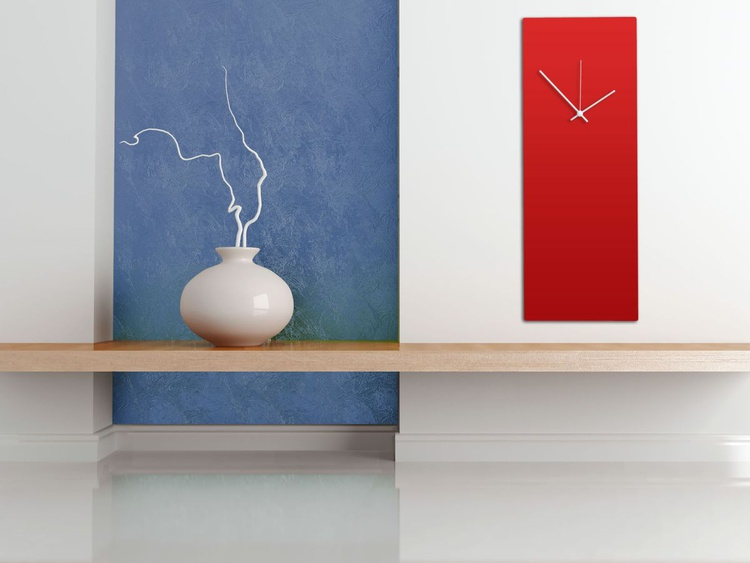 Redout White Clock - Large | Modern Metal Wall Clock, Minimalist Red & White - Image 0