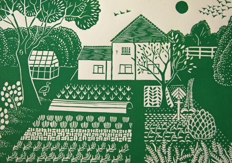 English country garden - original linocut print - Image 0