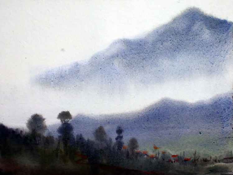 Foggy Mountain - Watercolor on Paper -