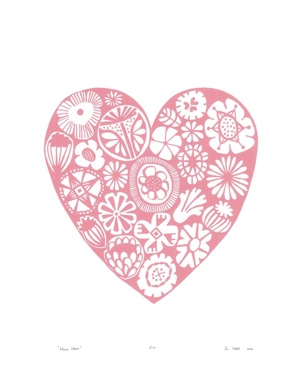 Flower Heart in Rose Quartz - Unframed - FREE Worldwide Delivery - Image 0