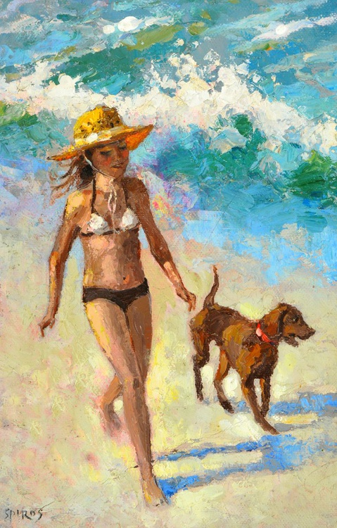 Girl with a dog - Original Oil palette knife Painting, Size: 28cm x 43cm - Image 0