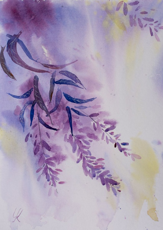 """purple ease"", original watercolour painting, 11.8""x 15.7""(30x40cm), ready to hang - Image 0"