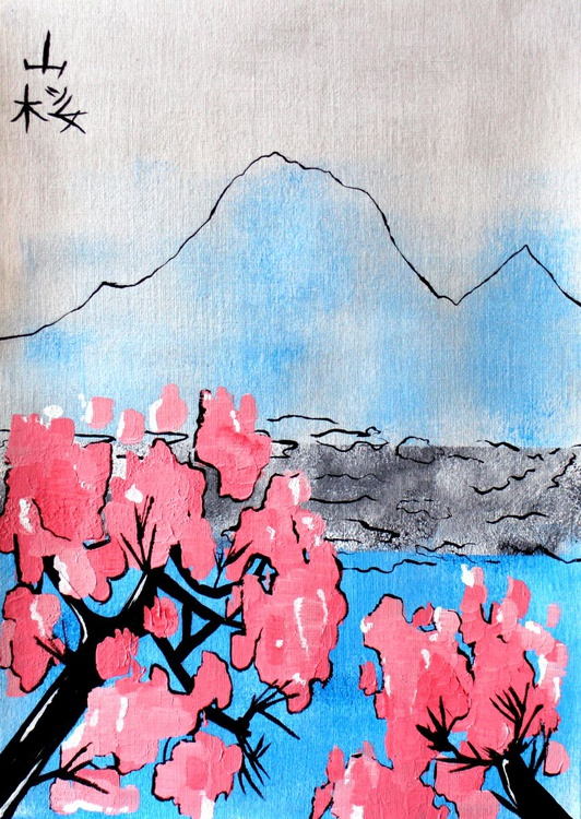 Mountain With Cherry Blossom Japanese Style Painting On Paper - Image 0