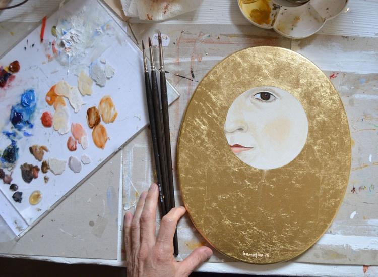 The Golden Looker n.7 Gold Leaf Female Portrait Oil Painting - Image 0
