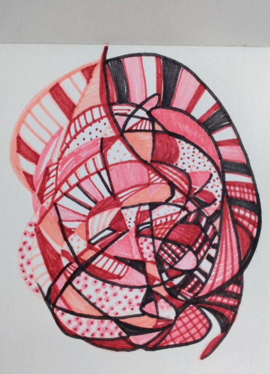 Pink Shell Energy Drawing (13cm x 14cm) - Image 0