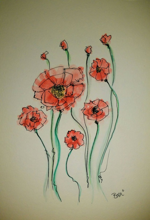 Poppies: Floral Doodle - Image 0