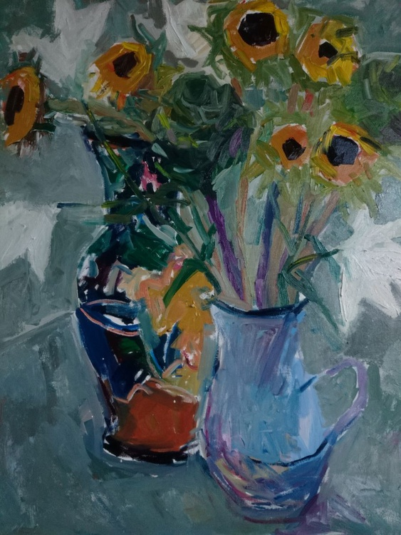 Still life with sunflowers, lilies and cabbages . - Image 0