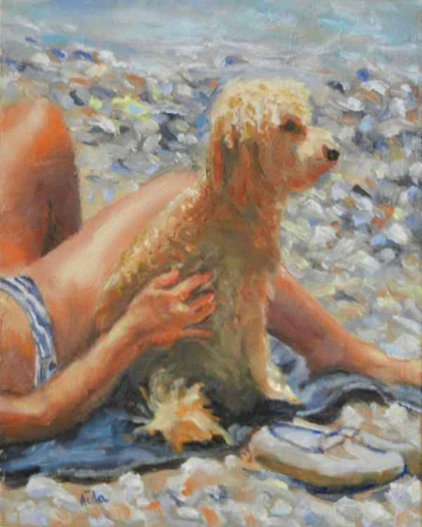Poodle at the Beach - SOLD -