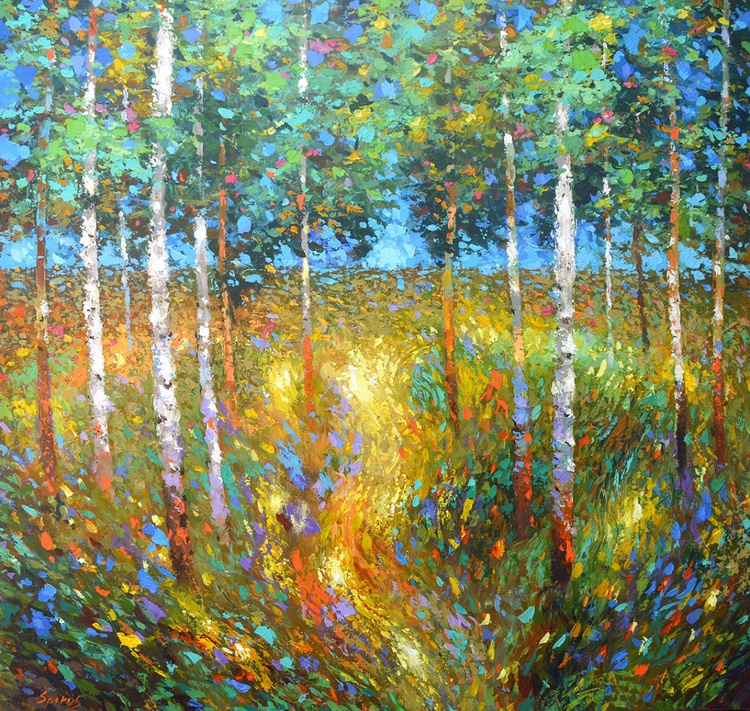 """Birch forest II  - oil ac. Painting with Palette Knife on Canvas by Dmitry Spiros. Size: 40""""x40"""" (100 cm x 100 cm) - Image 0"""