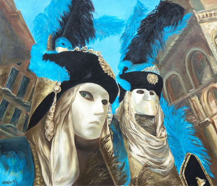 Oil painting, Venice Mask painting, Venice Carnival - Image 0