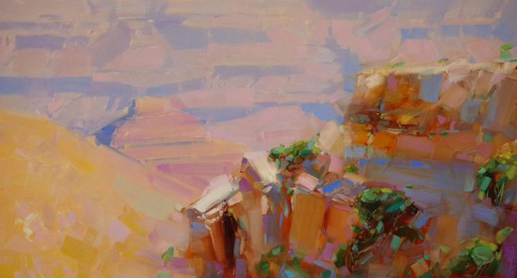 Grand Canyon -Sunny Day Handmade oil painting One of a kind Signed Large Size Painting - Image 0