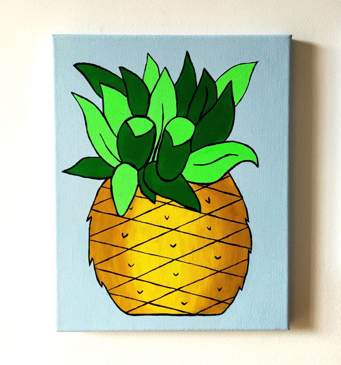 Pineapple Pop Art Painting On Canvas - Image 0