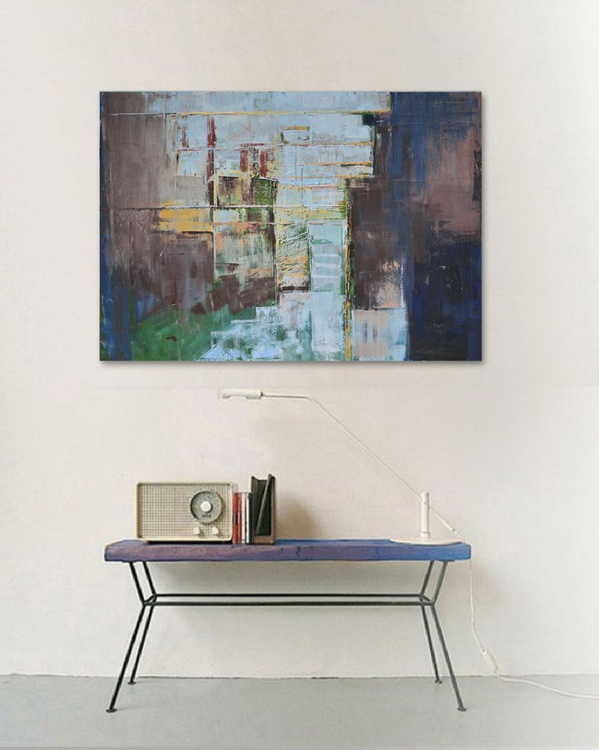 "Abstract painting brown and blue modern, large canvas art 39.37/27.5, 100/70cm."" Blue city"" - Image 0"