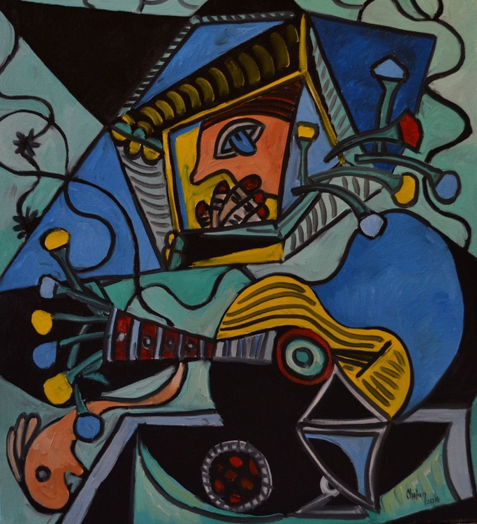 INSPIRED BY PICASSO-YELLOW GUITAR - Image 0