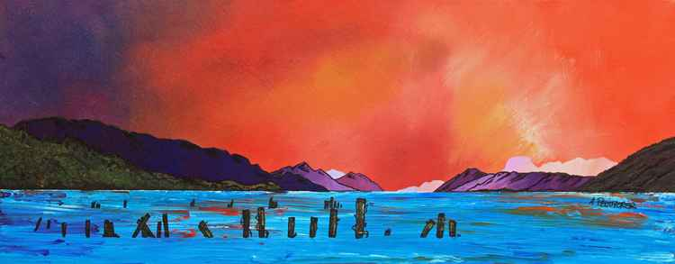 Loch Ness Sunset from Dores, Highlands, Scotland - original contemporary Scottish landscape painting -