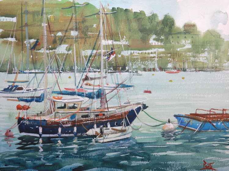 Boats moored on the River Dart, Dartmouth, South Devon