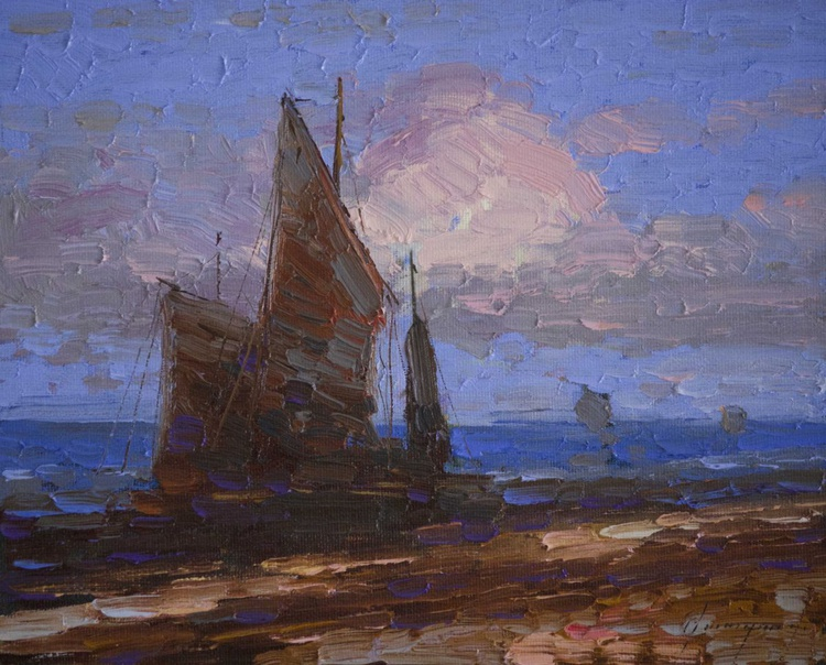 Sail Boats- Near to Island Original Handmade oil painting on Canvas One of a Kind - Image 0