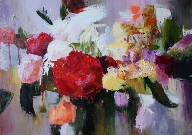 """""""Fabulous bunch of flowers."""" FREE SHIPPING. Size 50x70 cm . Canvas / Oil - Image 0"""