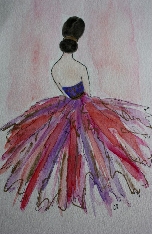 Watercolor Pink Cocktail Dress - Image 0