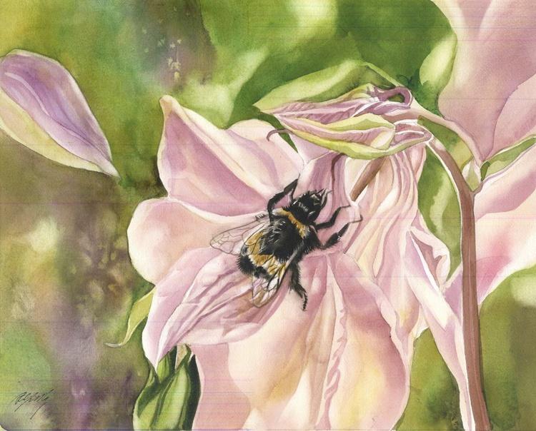 bee with columbine - Image 0
