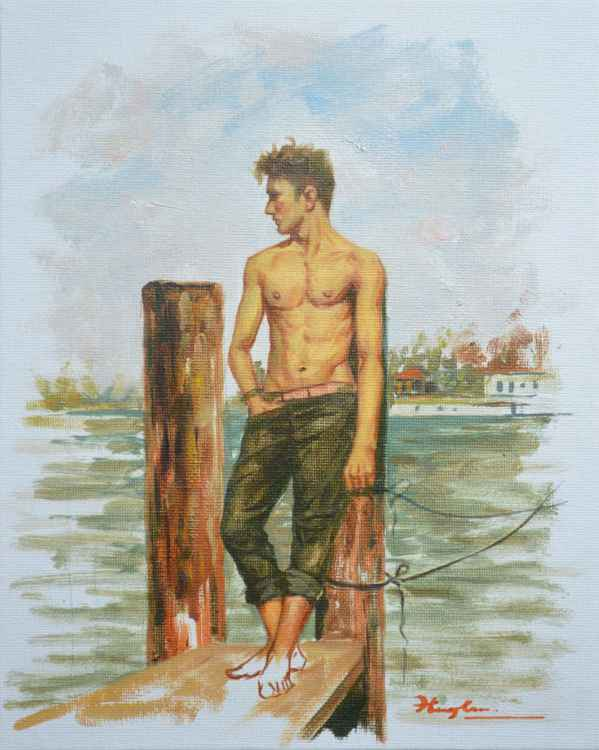 original oil painting art male nude boy on canvas panle#16-1-25-05