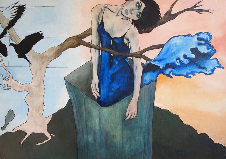 Model in a Blue Dress - Image 0