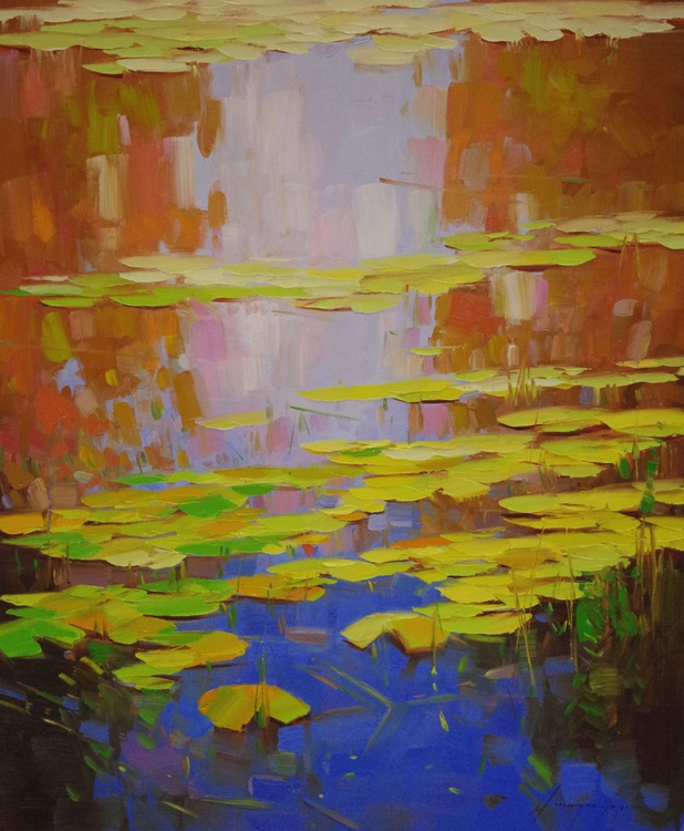 Water lilies -Fall Original oil Painting Handmade artwork One of a Kind Large Size - Image 0
