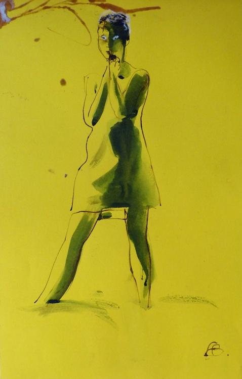 Suprised, on yellow paper, 64x42 cm - Image 0