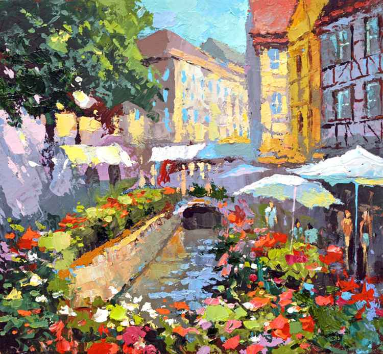 At the cafe - Oil Palette Knife Painting on Canvas by Dmitry Spiros. Size: 60cm x 60cm -