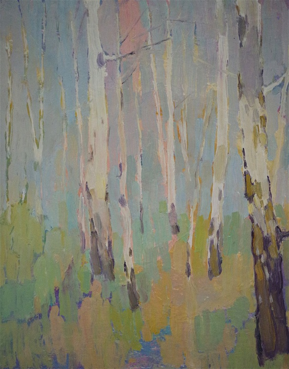 Landscape oil painting, Birches Grove, One of a kind, Signed, Hand Painted - Image 0