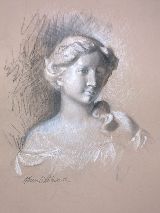 Softly - Charcoal Drawing of Statue - Image 0