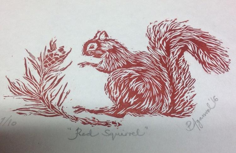 Bright eyed, bushy tailed: Red Squirrel, Handmade Original Limited Edition Linocut - Image 0