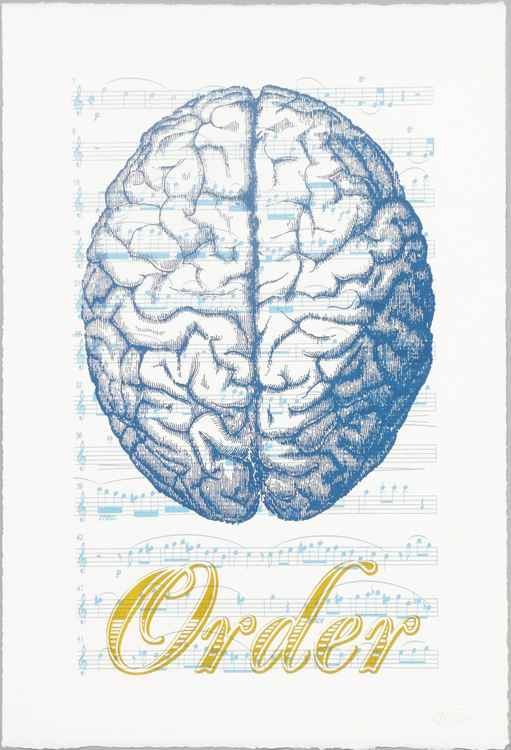Order Script Blue. Screen print with music score and prose script. -
