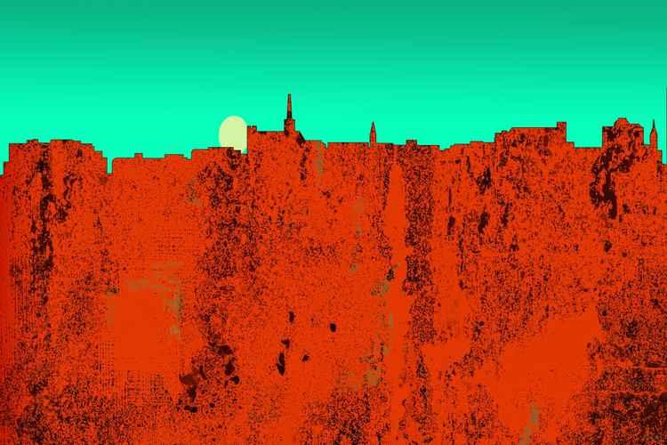 Geelong Australia Skyline -Red