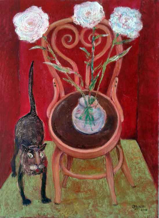 ..Cat And Flowers2016 year Oil Paintings on Canvas19X27in for sale