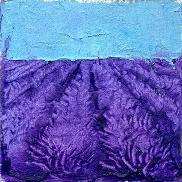 Teal Skies - Lavender Fields, Mini Contemporary Oil Painting - Image 0