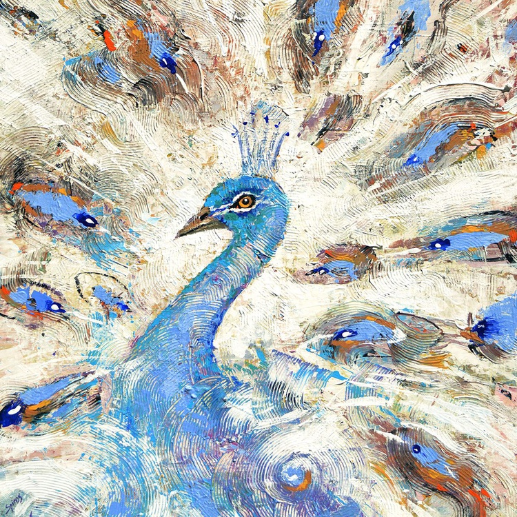 """Blue Peacock - oil ac. Painting with Palette Knife on Canvas by Dmitry Spiros. Size: 40""""x40"""" (100 cm x 100 cm) - Image 0"""